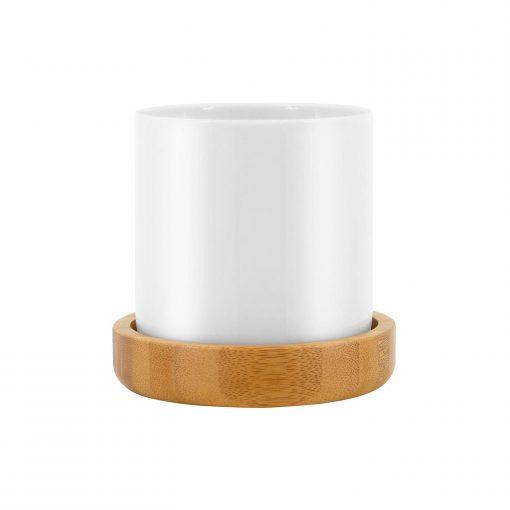 Lov Organic Lovely Cup Porzellantasse mit Holzuntersetzer 1 Wurzelsepp LOVELY CUP FACE