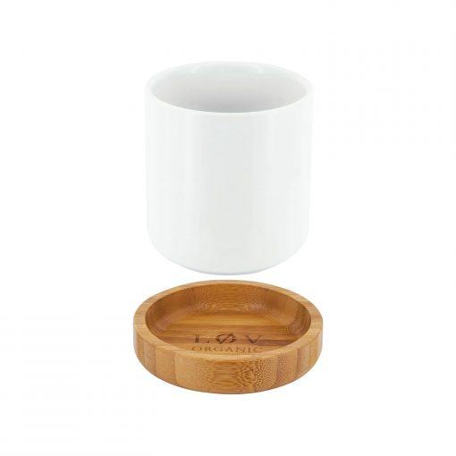 Lov Organic Lovely Cup Porzellantasse mit Holzuntersetzer Wurzelsepp LOVELY CUP ECLATEE