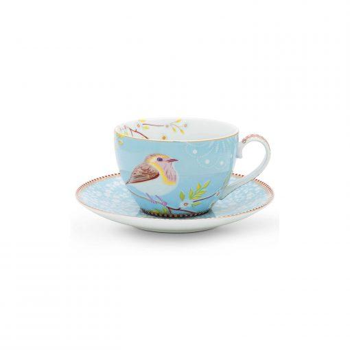 PIP Studio Cappuccino Tasse mit Untersetzer Early Bird Blau Wurzelsepp