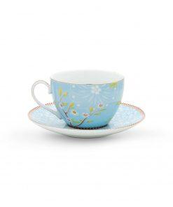 PIP Studio Cappuccino Tasse mit Untersetzer Early Bird Blau back Wurzelsepp
