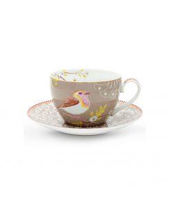 PIP Studio Cappuccino Tasse mit Untersetzer Early Bird Khaki Wurzelsepp