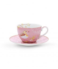 PIP Studio Cappuccino Tasse mit Untersetzer Early Bird Pink Wurzelsepp