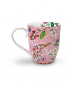 PIP Studio Floral Becher XL Hummingbirds rosa back Wurzelsepp